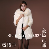 2013 rabbit fur coat medium-long female fox fur winter slim