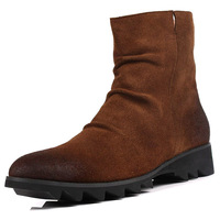 Casual boots nubuck leather suede cowhide zipper high-top shoes winter comfortable high men's slip-resistant