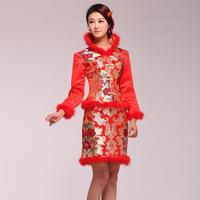 Long-sleeve cotton-padded winter flower jacquard evening dress cheongsam bridal wear twinset