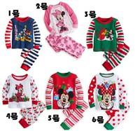 Free Shipping 5set/lots Boys Girls Sleepwear Children Cartoon Minnie Mickey Pajamas Kids long Sleeve New Year Pyjamas