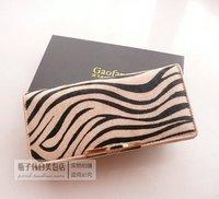 Free Shipping Hot-selling genuine leather horse hair wallet women's long design botticing zebra print