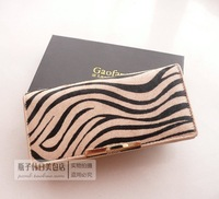 Free Shipping Hot-selling genuine leather horse hair wallet women's long design botticing zebra print