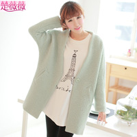 Autumn and winter woolen top suit fashion candy color loose all-match wool coat outerwear female