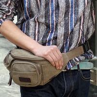 Canvas brief bag waist pack the trend of casual sports bag chest pack multifunctional waist pack