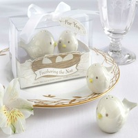 free shipping 200pcs=100sets/lot Baby birthday party souvenirs of Feathering the Nest Ceramic Birds Salt Pepper Shakers