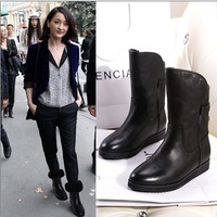 13 winter fashion boots genuine leather boots fashion round toe flat heel snow boots wool