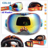 New Fashion colorful Frame Dual Plating Lens  polarizer lens ski goggle,Windproof,Sandproof Ski mask,UV portect glasses 16