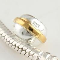 Cheap 925 Sterling Silver European Beads Plated Gold, Fashion European Jewelry Making FS017