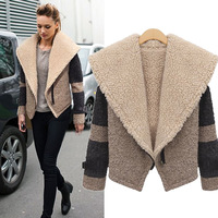 2014 New Fashion Brand Vintage Lapel Short Jacket Plus Size Thickening Woolen Patchwork Overcoat For Women 9886