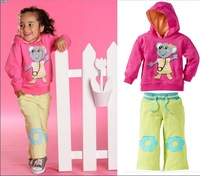 1Retail! 2013 new! Girl's sets Autumn 2pcs suit sets Cartoon Kangaroo hoodie sweater+pants children's clothes sport sets