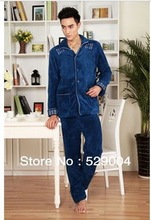 2013 New Winter Autumn and winter new men's thick flannel pajamas sets Men's Clothing Men's Sleep & Lounge Pajama Sets (China (Mainland))