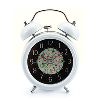 White Farm Vintage Metal Flower Leaf Twin Double Bell Desk Table Alarm Clock