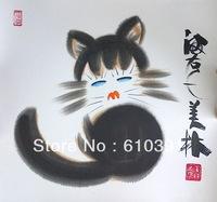 Chinese cartoon cat painting