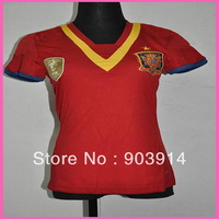 2014 Factory Price Embroidery Logo Spain Home Womens Soccer Jersey,Original Quality Spain Lady Shirt,Thai Quality