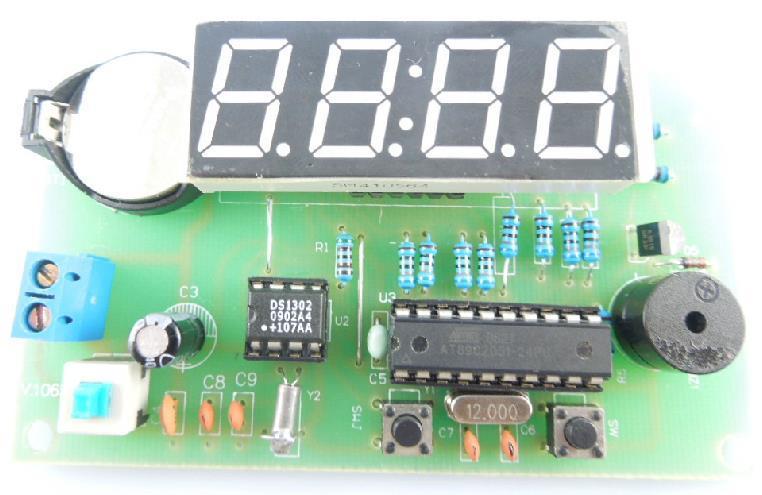 Free Shipping! 1pc 4-bit SCM AT89C2051 DS1302 digital clock DIY kit(China (Mainland))