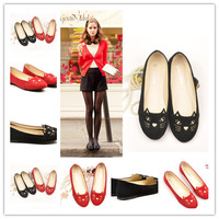 Free shipping new popular design women western style solid color black and red flats round toe party casual flats  yaya3189-1
