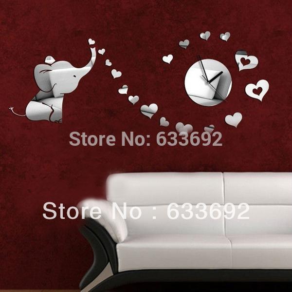 Free shipping DIY wall clock mirror decorative wall clock sticker (B0389)(China (Mainland))