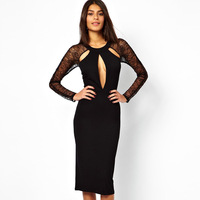 Fashion women's long-sleeve o-neck midguts cutout slim hip slim waist sexy one-piece dress evening dress