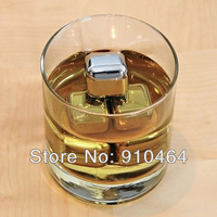 6pcs/set Stainless steel whisky wine rocks,whiskey beer ice stone Freezer Gel, bar accessaries pyhsical cooling ice cube