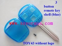 colourful To 3 button remote key shell (blue) with TOY43 blade without logo , car remote key shell, car transponder key blanks