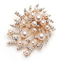 2013 Wholesale Fashion Glisten Crystal Gold Plated babysbreath Brooch For Christmas Gift SH088