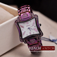 JW451 Weiqin Brand Purple Luxury Waterproof  Stainless Steel Women Rhinestone Dress Watches Gift Relogio