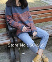 2014 New Fashion Sweaters For Women Geometry Printed Knitted Pullovers Casual Knitwear Plus Size SW-170