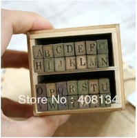1 set free shipping Wooden Stamps AlPhaBet and letters seal uppercase wooden stamp set/28 pcs antique stamp one set price