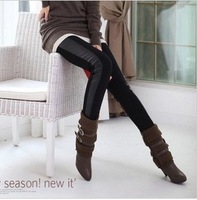 HOT wholesale free shipping Cotton Side Leather splice Leggings for women wild stretch feet pants Pantyhose W3276