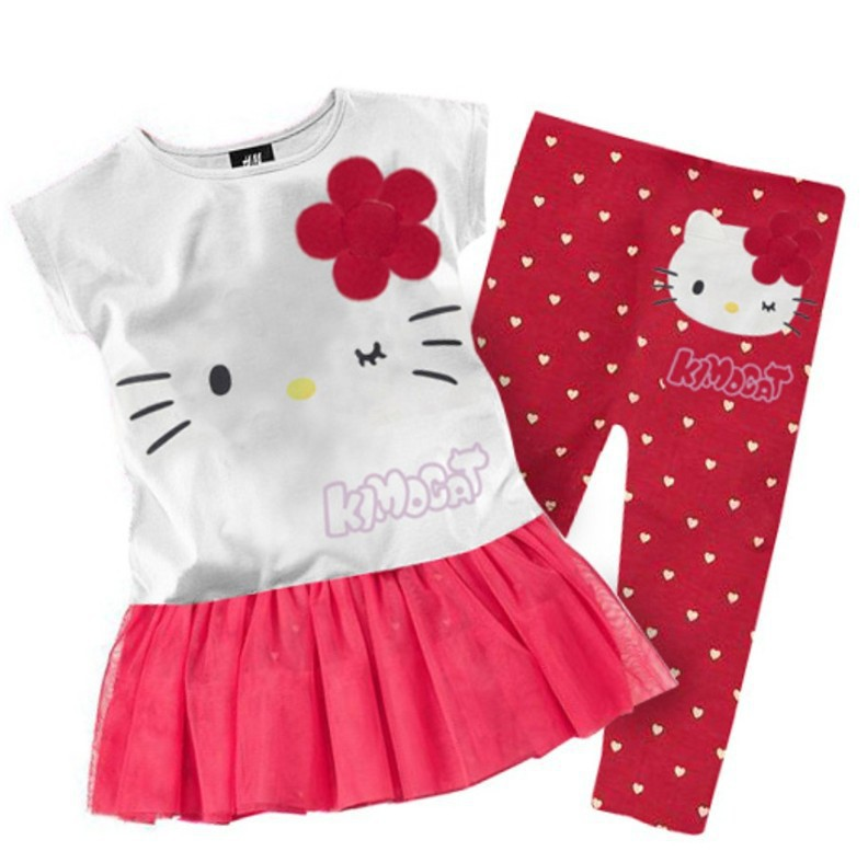 1 Set Retail 2014 New summer baby kids girls clothing set short t shirt dress pants leggings,hello kitty children sets infantis(China (Mainland))