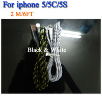 New 2 m 6 ft colorful Fabric Nylon Braided usb Charging Cable for iphone 5 5S 2 pcs/lot Black & White
