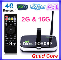 Updated CS918S Quad Core Allwinner A31 2G RAM 16G Android 4.2.2 TV Box Built in 5.0MP Camera Bluetooth RJ45 XBMC+ Remote Control