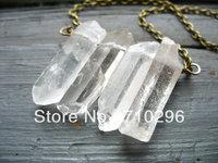 Natural Clear Quartz Point Crystal point gem stone Necklace 5pcs/lot