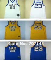 Cheap-Mix Order Laney High School Basketball Jersey #23  White Blue Yellow