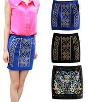 2013 New Fashion Womens Sexy Skirts European Style Sequined Drilling Print Patchwork Mini Skirt for Ladies WQZ0406