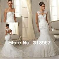 Vestido De Noiva 2014 Sexy Open Back Lace Wedding Dress 2014 Mermaid Wedding Dresses with Detachable Jacket