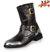 Abc non-mainstream punk boots r a15-003a1 silver male medium-leg 1213 velvet boots