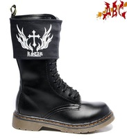 Motorcycle martin boots punk x-104-129d 1 genuine leather cowhide medium-leg cow muscle boots outsole shoes punk