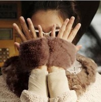 Winter thermal rabbit fur gloves fur gloves women's gloves semi-finger mitring