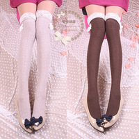 Japanese sweet autumn fashion socks Japanese bow Tall piles of socks cotton