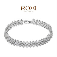 ROXI platinum plated bracelets,white caterpillar bracelets,fashion jewelry,Christmas jewelry gift,factory price,new style
