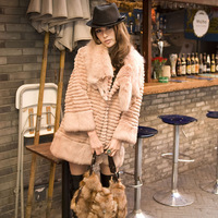 2013 fox fur rex rabbit hair fur coat medium-long overcoat lotus root starch