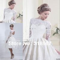 Vestido De Noiva 2014 Romantic Lace Wedding Dress Sexy Open Back Lace Wedding Dress 2014 Long Sleeve Short Wedding Dress
