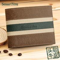 Free Shipping men's genuine leather wallet fashion contrast colour short design vintage cowhide purse carteira de couro gift