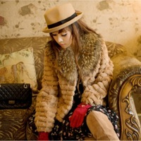 Slim outerwear winter rabbit fur raccoon fur stripe