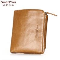 Free Shipping men's women's wallet short design mini genuine leather wallet  three fold cowhide wallet carteira de couro gift