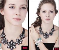 Luxury dinner sparkling big oval zircon flower necklace formal dress necklace collar false collar M2045