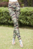 Free shipping 2013 Sexy Lady Pants Stretch Army Leggings all match Camouflage Trouser Graffiti Design W3280