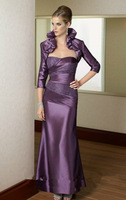 Free Shipping Purple Taffeta With Jacket Elegant  Exquisite Mother of the Bride Dress