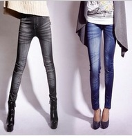 Free Shipping 2013 Korean Nine-minutes Printed Fashion Jeggings Leggings High Elastic Show Skinny Pants Leggings woman W3296